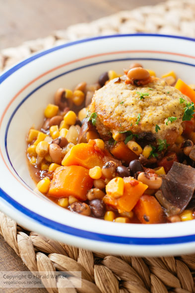Bean Stew with Cornmeal Dumplings – a Vegan Slow Cooker Meal