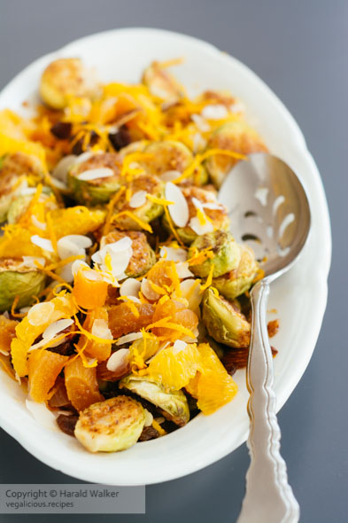 Roasted Brussels Sprouts with Maple Mustard Sauce, Apricots, Rai