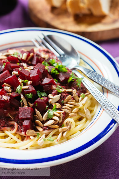 Purple Pesto Pasta with Beets