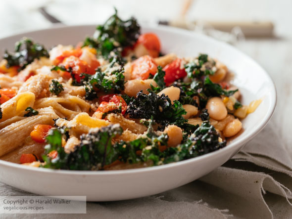 Kale, Pasta and White Beans