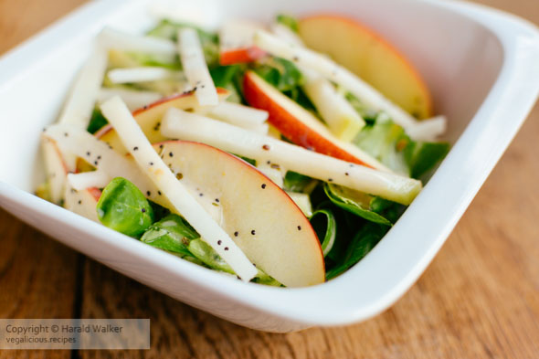 Field Salad, Kohlrabi and Apple Salad with Minty Poppy Seed Dres