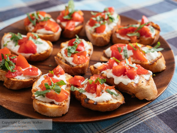Tomato Bruschetta with Vegan Feta Spread