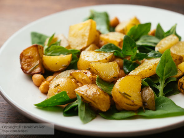 Warm Salad of Roasted Potatoes, Spiced Chickpeas and Spinach