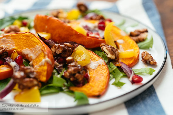 Colorful Fall Salad with Squash and Tahini Dressing
