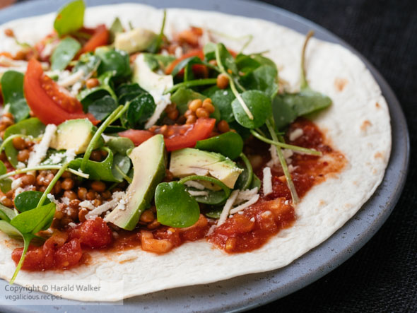 Tortillas with Winter Purslane, Lentils, Walnuts and Salsa