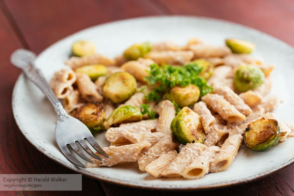 Pasta with Brussels Sprouts and Walnut Sauce