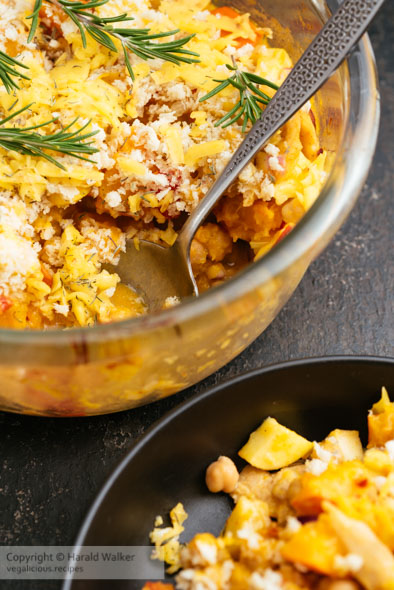 Vegan Winter Casserole with Apples, Winter Squash and Chickun